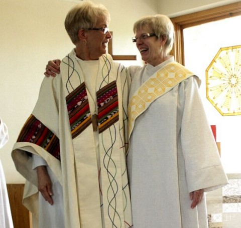 Ruth Lindstedt and Bishop Nancy Meyer